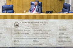 Town Hall. Sao Paulo, Brazil, August 02, 2016. Municipal government or city council working inside Town hall on Anchieta Palace in downtown Sao Paulo Royalty Free Stock Image