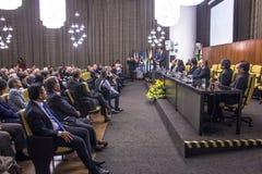 Town Hall. Sao Paulo, SP, Brazil, September 09, 2016. Japan's consul Takahiro Nakamae receives the title of Sao Paulo citizen, in the noble hall of the Town Hall Stock Image