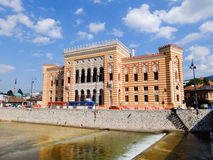 Town Hall of Sarajevo. The Town Hall and National Library of Sarajevo reflected in Miljacka River. Bosnia and Herzegovina Stock Photos