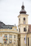 Town Hall , Sibiu. Town Hall  from Sibiu bottom view from different angle Stock Images