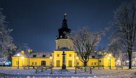 Town Hall in Siedlce, Poland. In winter at night royalty free stock photo
