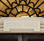 Town Hall sign above door Royalty Free Stock Photography