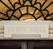 Town Hall sign above door