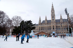 Town hall and skating rink,Vienna, Austria. Royalty Free Stock Photography