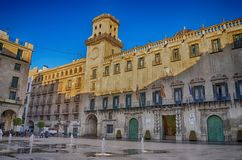 Town Hall Square and City Hall in Alicante, Spain Stock Photography