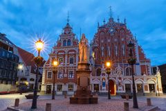 Town Hall Square and the House of the Blackheads in Riga`s historic center. Town Hall Square and the House of the Blackheads in Riga`s historic center, Latvia stock photos