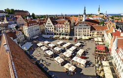 Town hall square in the old town of Tallinn, Estonia on July 26, Stock Photo