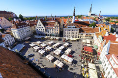 Town hall square in the old town of Tallinn, Estonia on July 26, Stock Images