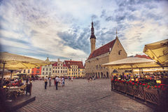 Town Hall Square, Raekoja Plats, in summer evening Royalty Free Stock Photos