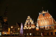 Town Hall Square in Riga at night. Latvia Royalty Free Stock Images