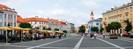 The Town Hall Square (Rotuses aikste) in Vilnius. VILNIUS, LITHUANIA, AUGUST 10: The Town Hall Square (Rotuses aikste) in Vilnius on August 10, 2013 in Vilnius Stock Photos