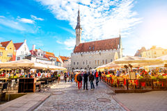 Town hall square in Tallinn. Tallinn, Estonia - September 25, 2016: View on the crowded open market on the town hall square in Tallinn, Estonia Royalty Free Stock Images