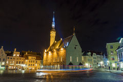 Town Hall Square in Tallinn, night view Stock Photography