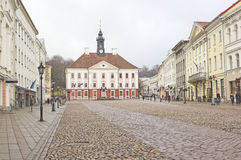 Town Hall Square in Tartu, Estonia. In a rainy day Stock Images