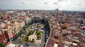 Town hall square of Valencia in sunny day, Spain. Scenery of Town Hall Square in Valencia, view above, Spain stock video