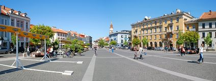 The Town Hall Square in Vilnius city Stock Photography