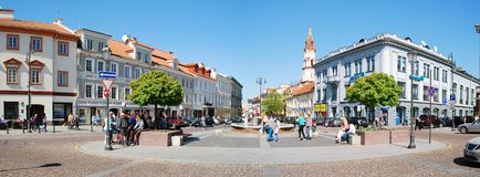 The Town Hall Square in Vilnius city Stock Photos