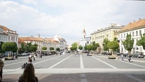The town hall square in Vilnius. Vilnius, Lithuania. May 2019. A time lapse view of the people walking in town hall square stock video footage