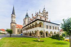 Town hall and St. James church in Levoca stock photos