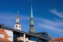 Town Hall and St. Peter in Riga Royalty Free Stock Photography