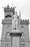 The town hall and the Statue of Liberty in San Marino Royalty Free Stock Photo