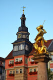 Town Hall and Statue of Saint George in Eisenach. The town hall in Eisenach, Germany, at the Marktplatz. Also at this marketplace is an elaborate fountain with a Stock Photo