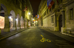 Town Hall Street by night, Old Town Geneva Royalty Free Stock Image
