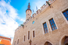 Town hall in Tallinn. View on the town hall on the central square in Tallinn, Estonia Royalty Free Stock Photos