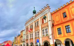 The town hall of Telc, Czech Republic. Telc is a UNESCO heritage site Stock Photography
