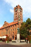 Town hall, Torun old town, Poland. Town hall and Copernicus monument in Torun old town (Unesco world heritage site), Poland Stock Photo