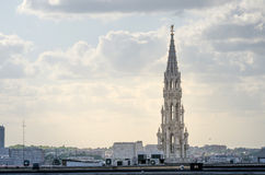 Town hall tower on Grand Place in Brussels Stock Image