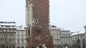 Town Hall Tower. KRAKOW, POLAND - DECEMBER 2017; Town Hall Tower stock footage