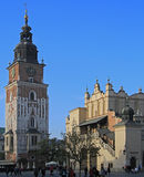 Town hall tower on main market square in Krakow, Poland Royalty Free Stock Photography