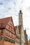 Town hall tower of medieval town Rothenburg ob der Tauber. Germany Stock Photos