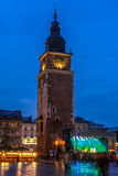 Town Hall Tower. In night. Cracow. Poland Stock Images