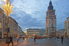 Town Hall Tower and the street market in the Main Market Square Royalty Free Stock Photography