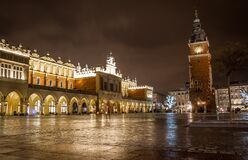 Town Hall Tower and Sukiennice, Krakow, Poland Stock Image