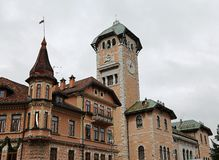 Town hall tower with the town of Asiago Royalty Free Stock Image