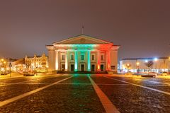 Vilnius. City Hall at night. Town Hall in the Town Hall Square in the night illumination. Lithuania. Vilnius Stock Images