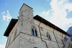 Town Hall of the town of VENZONE in Northern Italy reconstructed Royalty Free Stock Photos