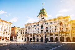 Town Hall in Trieste, Italy during the sunny day Stock Photos