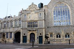Town Hall and Trinity Guildhall, Kings Lynn, Norfolk. Kings Lynn, Norfolk, UK. September 20, 2018. The unique architecture of the Fifteenth century town hall stock image