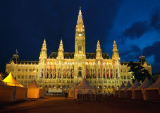 Town hall in Vienna. At night, Austria Royalty Free Stock Photos