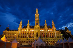 Town hall in Vienna. At night, Austria Royalty Free Stock Photography