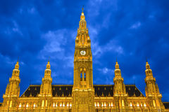 Town hall in Vienna. At night, Austria Royalty Free Stock Image