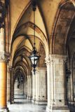 Gothic Passage - Town Hall Vienna / Rathaus Wien. Town Hall Vienna , Historical corridor with columns Stock Photo