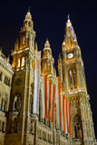 Town hall in Vienna at night Stock Photo