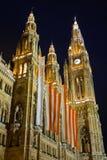 Town hall in Vienna at night. Austria Stock Photo