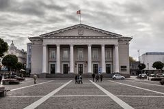 Town Hall in Vilnius is a historical town hall in the square of the same name in the Old Town of Vilnius,. Lithuania royalty free stock image