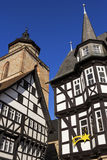 Town Hall and Walpurgiskirche in Old Town in Alsfeld Stock Photos